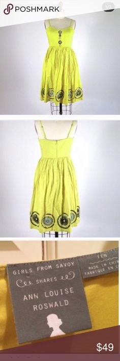 Anthro End of Summer Sale yellow dress Yellow Dress size 10  the length is 41' sequence detail waist 15'. Anthropologie Dresses Midi
