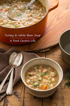 Hearty Turkey Bean Soup - A Food Centric Life Leftovers Recipes, Turkey Recipes, Whole Food Recipes, Cooking Recipes, Healthy Recipes, Yummy Recipes, Thanksgiving Recipes, Thanksgiving Turkey, Christmas Recipes