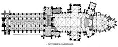 Plan of Canterbury Cathedral showing the complex ribbing of the Perpendicular vaulting in the nave and transepts.