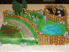 Zoo cake for a childrens birthday party