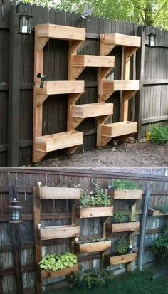 Related posts: 65 Small Backyard Garden Landscaping Ideas 60 Beautiful Backyard Garden Design Ideas And Remodel Easy and Affordable DIY Backyard Ideas and Projects Piccolo-Backyard-Hill-Landscaping-Ideas-to-Get-Cool-Backyard-Landscaping. Vertical Garden Wall, Vertical Gardens, Fence Garden, Vertical Planter, Fence Planters, Planter Garden, Diy Fence, Tiered Planter, Raised Herb Garden