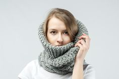 grey  knitted cowl thick extra warm by IvetaStasiulioniene on Etsy