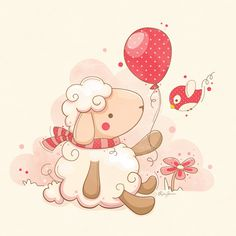 Sheep & Balloon Art Print by Hi-deer   Society6