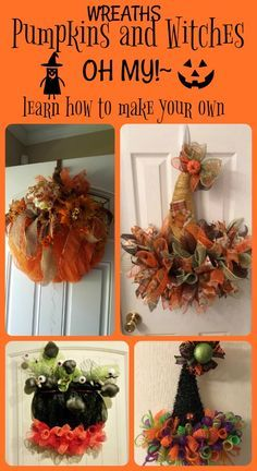 Mesh pumpkin and witches hat wreaths/door hangers