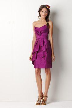 Fuchsia Short Mini Bridesmaid Dress with Ruched Skirt