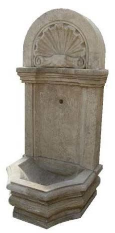 Wall Fountain - small. 'Shell'. Material: Hand Carved Stone with an Etched Antique Finish