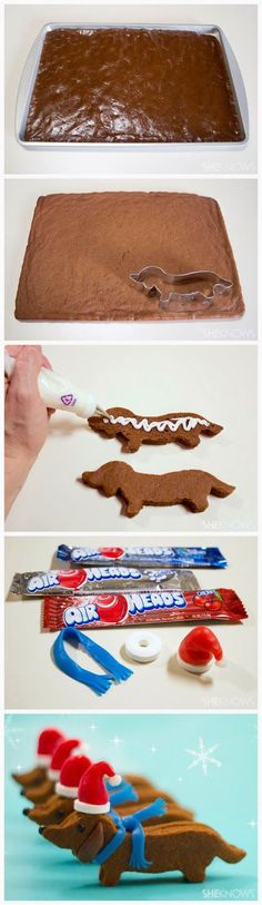 Dachshund Santa Cookies! Christmas goes canine with these wonderful wiener dog Santa cookies. Just two simple molasses sugar cookies sandwiched together with frosting, and topped with an edible candy hat and scarf. They'll definitely make a bow-WOW impression. Full directions at www.sheknows.com