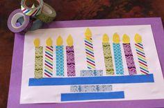 Colorful Tape Menorah Craft #menorah #hanukkah #hanukkahcrafts  from Creekside Learning