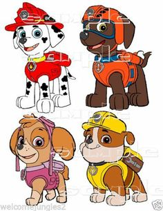 Group of 4 Paw Patrol Custom Fabric T-Shirt Iron On Transfer