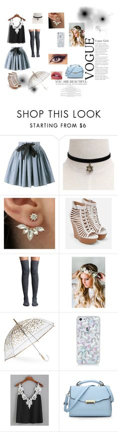 """Spring time happiness"" by amayah104 ❤ liked on Polyvore featuring Miu Miu, JustFab, Lemon, Emily Rose Flower Crowns, ShedRain and WithChic"