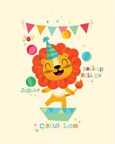 Arte infantil arte de circo infantil vivero por IreneGoughPrints Circus Nursery, Lion Nursery, Nursery Prints, Nursery Art, Art Wall Kids, Art For Kids, Jungle Theme Birthday, Lion Print, Baby Boy Gifts