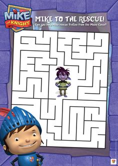 Have fun with this Mike the Knight maze! 3rd Birthday, Birthday Ideas, Mike The Knight, Castle Crafts, Knight Party, Maze Puzzles, Colouring Sheets, Sofia The First, Projects For Kids