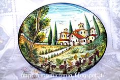 Ceramic plate hand painted with the Tuscan landscape #Majolica #Italy http://ceramicamia.blogspot.it/