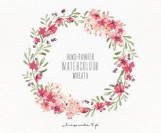 Watercolor wreath: hand painted floral wreath clipart / Wedding invitation clip art / commercial use / pink blossom berries / CM0063f