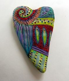 Heart series...patterns | Flickr - Photo Sharing! by Sue Thomson. She says it's paper clay, incised with a clay tool, painted with acrylics and then sometimes colored pencils. Great colors and design!
