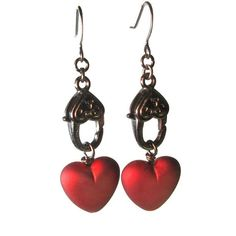 Edgy #Steampunk #Heart Earrings in Gunmetal by BluKatDesign on Etsy for #valentinesday