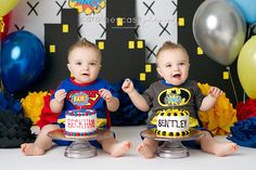 Idaho Falls, ID Baby Child TWINS Birthday Cake smash Photographer ~ Caralee Case Photography