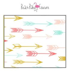 Teal and Coral Arrows Indie Nursery Bedding and Decor - Sheets, Changing Pad Cover, Boppy, Blankets