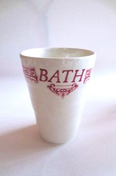 Vintage Ceramic Bath cup, Red Transfer Ware, Royal Crownford Staffordshire England, Shabby Chic decor, 4 available Jackpot Jen by JackpotJen on Etsy