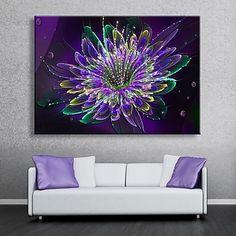E-HOME® Stretched LED Canvas Print Art Purple Flowers Flash Effect Flashing Optical Fiber Print LED – AUD $ 85.79