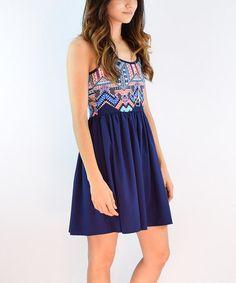 Look at this #zulilyfind! Navy Geo A-Line Dress #zulilyfinds