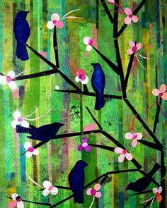 Cherry blossoms and blue birds. Colorful.