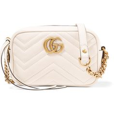 Gucci GG Marmont Camera mini quilted leather shoulder bag ($965) ❤ liked on Polyvore featuring bags, handbags, shoulder bags, white, gucci crossbody, white shoulder bag, mini crossbody, crossbody camera bag and gucci handbags