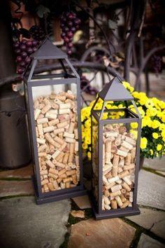 rolha de vinho na decoração luminarias