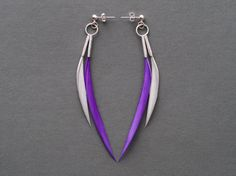 #SALE  Minimalist Spike Dangle Feather #Earrings in Neon Purple + Grey by Stilltreejewellery on #Etsy