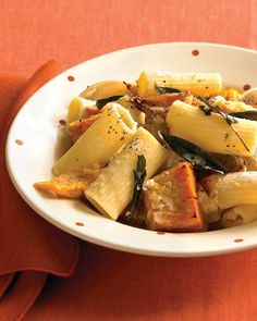 Rigatoni with Roasted Pumpkin and Goat Cheese Recipe