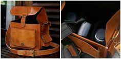 honey leather camera bag