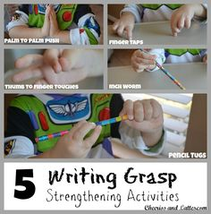 """Play to Write-Write to Read: Week 7 Writing Grasp Strengthening Activities & """"Wordle' Writing Gift Ideas) Preschool Writing, Preschool Learning, Writing Activities, Early Learning, Pre Writing, Writing Skills, Writing Practice, Motor Activities, Preschool Activities"""