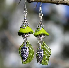 Owl Earrings Czech Glass Beads Green Flower by CreativeCutes