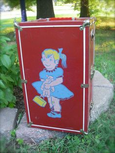 Vintage Red With White Metal Doll Trunk - Front and Back Image of Pony Tail Girl in Blue Dress - 15 inch