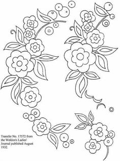 Embroidery Patterns Janome Embroidery Designs Hand Work For Blouse Embroidery Designs, Brush Embroidery, Embroidery Transfers, Crewel Embroidery, Hand Embroidery Patterns, Applique Patterns, Vintage Embroidery, Applique Quilts, Ribbon Embroidery