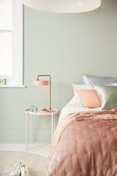 A light and bright bedroom combing Tranquil Dawn with muted pink. Light Green Rooms, Light Pink Bedrooms, Pink Bedroom Walls, Pink Bedroom For Girls, Bedroom Wall Colors, Room Ideas Bedroom, Bedroom Color Schemes, Bedroom Green, Pink Room