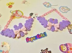 These earrings are made out of light purple perler beads and plastic parts!   They dangle a bit more than two inches and are an adorable addition to a fairy kei outfit.  Batty is handmade with love and care! c:   Hey, is Batty not the color you want him to be?  Maybe you want blue or yello...