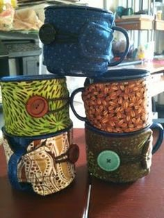 Cozies made for our camping enamel ware cups.