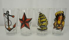 Authentic SAILOR JERRY Anchor Star Girl Tattoo Logo Bar Pint Beer Glass Set NEW