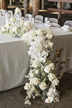 Modern White Wedding Style with Babies Breath, Phalaenopsis Orchids, Roses and Dried Flowering Filler flowers orchids White Roses Wedding, Wedding Reception Flowers, Floral Wedding, White Wedding Decorations, Modern Wedding Flowers, Fall Wedding, Wedding Bouquets, Rose Centerpieces, Centrepieces