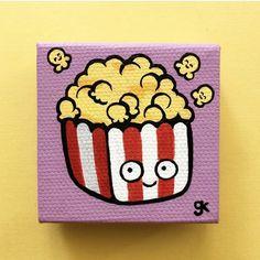 "Cake Painting / Birthday Cake Painting / Cute Cartoon Mini Food Painting ""x Best Pi Simple Canvas Paintings, Easy Canvas Art, Small Canvas Art, Easy Canvas Painting, Mini Canvas Art, Cute Paintings, Disney Canvas Art, Food Art Painting, Cartoon Painting"