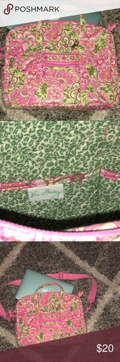 RARE Vera Bradley Pink Laptop Case with strap RARE Petal Pink retired print. Received as a gift, used once.  Essentially NWOT.  Gorgeous Pink print.. perfect for spring! Interior and Exterior pockets for all your tech gear. Vera Bradley Bags Laptop Bags