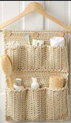 En crochet , organizador para el baño !!