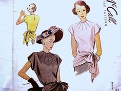 Vintage 1940s Draped Peplum Side Tie Blouse by PatternsFromThePast