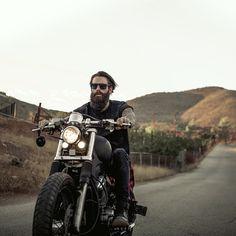 Ricki Hall full thick dark beard and mustache beards bearded man men mens' style biker bikers motorcycle tattoos tattooed bearding #beardsforever