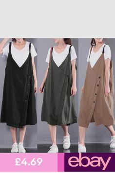 81775cfc80 UK Women Sleeveless Deep V Neck Dungarees Pinafore Baggy Long Dress Kaftan