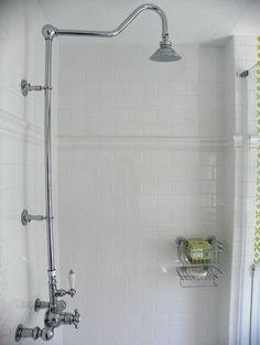 Girl's Bathoom Vintage Style traditional-bathroom - American Olean again White Subway Tile Bathroom, Wc Bathroom, Subway Tile Showers, Beach House Bathroom, Master Bath Shower, Dream Bathrooms, Bathroom Ideas, Shower Ideas, Bad Inspiration