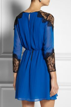 Alice + Olivia | Dany lace-trimmed silk-crepe dress | NET-A-PORTER.COM