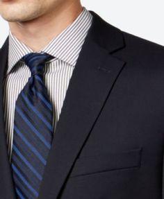 Calvin Klein Solid Navy Slim-Fit Suit - Blue 48L