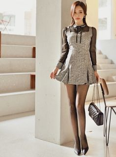 Tights Outfit, Office Attire, Korean Model, Black Knit, Sexy Legs, Asian Woman, Korean Fashion, Cute Outfits, Mini Skirts